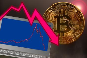 Obraz Bitcoin coin cracked in market crash with laptop graph - fototapety do salonu