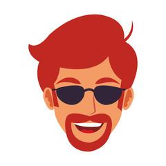 Disco man face cartoon vector illustration graphic design
