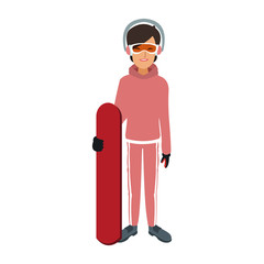 Woman with snowboard vector illustration graphic design