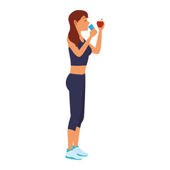 Fitness woman drinking water vector illustration graphic design
