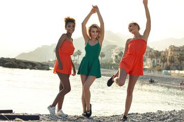 Joyful girls on summer vacation.