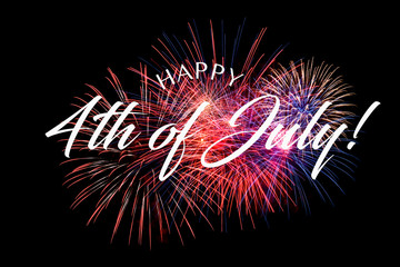 Happy JUly 4th greeting with black background with fireworks