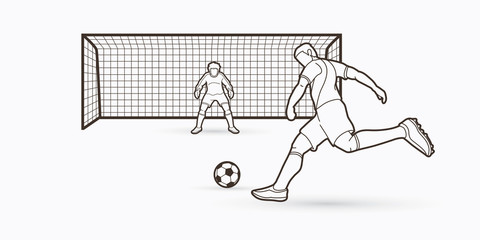 Soccer player kicking ball with Goalkeeper standing action outline graphic vector.