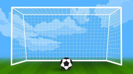 soccer ball field and goal object vector background