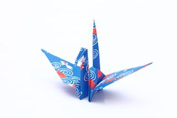 Japanese paper crane  on white background.