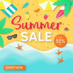 Template of summer party poster on the beach.Paper cut style. vector illustration