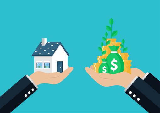 House is Money. Hand holding exchanging House with money. Vector illustration