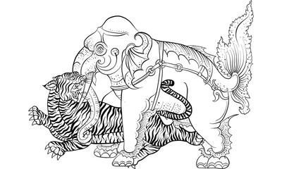 elephant in Thai traditional painting vector
