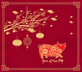Chinese new year background with hanging lanterns. Year of the pig