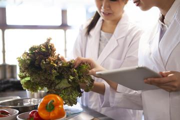 野菜を手に取りタブレットで分析する栄養士たち