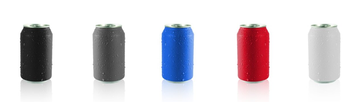 Colorful cans isolated on white background with clipping path , Cans paint and drops of water on the can
