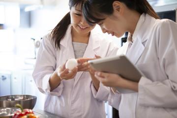 卵の状態を確認する栄養士たち