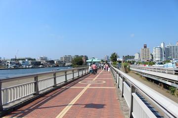 Fujisawa, Japan - JULY 7, 2017: Walk from Enoshima Train Station to Enoshima Shrine