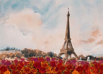Eiffel tower- Paris european city landscape France.