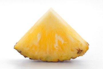 slice of pineapple on white background.