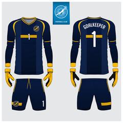 Blue Goalkeeper jersey or soccer kit, long sleeve jersey, goalkeeper glove template design. Sport t-shirt mock up. Front and back view football uniform. Flat football logo label. Vector