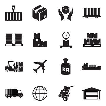 Cargo Icons. Black Flat Design. Vector Illustration.