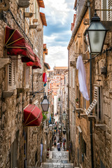 Canvas Prints Narrow alley Famous narrow alley of Dubrovnik old town, Croatia
