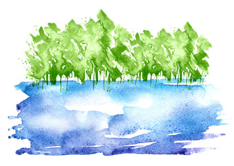 Watercolor silhouette of trees, bushes, Field, blue pond,lake,river. Country view, Postcard, logo, card. Drawing of black trees a white isolated background. Ecological poster. Environmental pollution