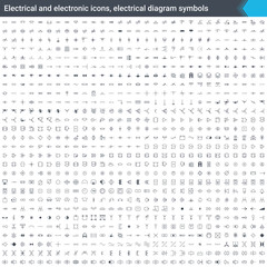 Electrical and electronic icons, electrical diagram symbols. Circuit diagram elements. Stoke vector icons isolated on white background.