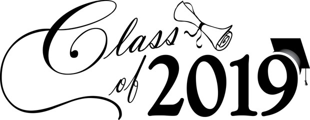 Class of 2019 with cap and diploma