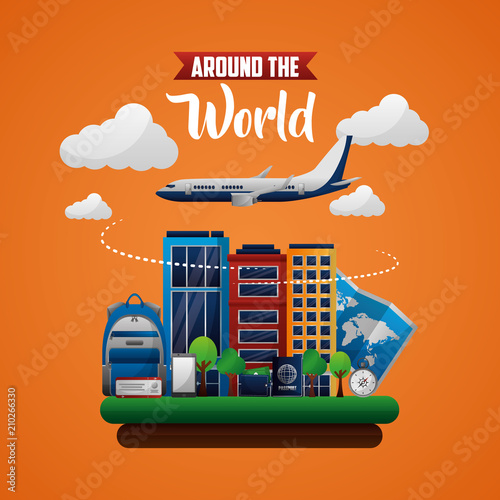 travel around the world clouds airplane fly route buildings handbag ...
