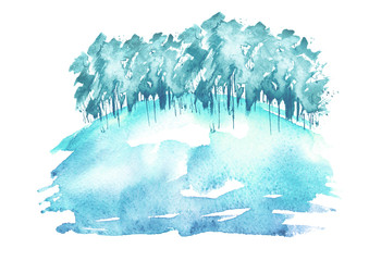 Watercolor winter blue wood. Blue, purple silhouette, landscape, trees and bushes on a hill. Linear pattern on white isolated background. Snow, snowdrift, river, abstract splash of paint.