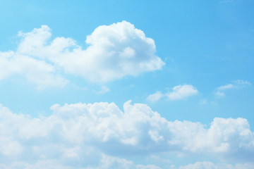 Beautiful blue sky with clouds background and bright lighting clear on Summer