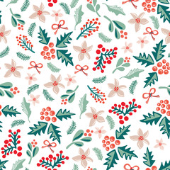 Misteltoes and christmas flowers on a white background. Great for the Christmas season!