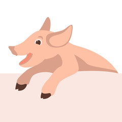 pig face smiling vector illustration flat style front