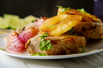 Cuban Pineapple Pork Chops