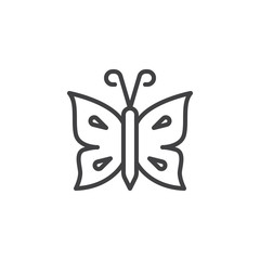 Butterfly with antenna outline icon. linear style sign for mobile concept and web design. Tropical butterfly simple line vector icon. Symbol, logo illustration. Pixel perfect vector graphics