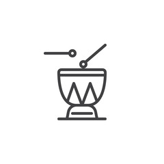Djembe drums outline icon. linear style sign for mobile concept and web design. African drums and drumsticks simple line vector icon. Percussion symbol, logo illustration. Vector graphics