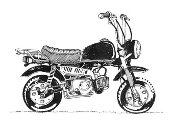Detailed sketched classic retro motorcycle vehicle sketch style. Illustration of hand drawn vintage retro motorcycle