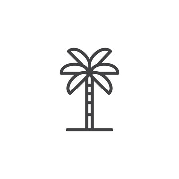 Palm tree outline icon. linear style sign for mobile concept and web design. Tropical plant simple line vector icon. Symbol, logo illustration. Pixel perfect vector graphics