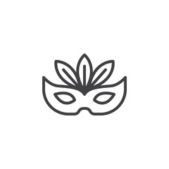 Carnival mask outline icon. linear style sign for mobile concept and web design. Mask with feathers simple line vector icon. Symbol, logo illustration. Pixel perfect vector graphics