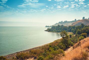 Fototapete - Skyline, view of Tiberias in Galilee, The Sea of Galilee, Lake of Gennesaret, Israel