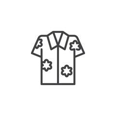 Hawaiian shirt outline icon. linear style sign for mobile concept and web design. Aloha shirt simple line vector icon. Symbol, logo illustration. Pixel perfect vector graphics