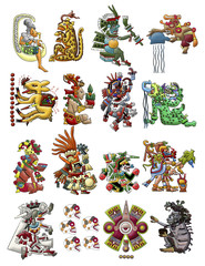Collection of Mayan, Aztec deities isolated on white