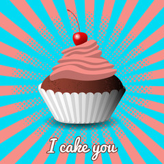 International Cake Day. Capcake, dessert, pastries, cherry. Pop art style background. Pink and blue colors.