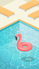Water surface with ripples and flamingo swimming circle.
