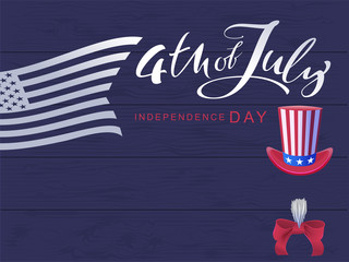 4 July Independence Day. Handwritten calligraphy text and flag usa greeting card
