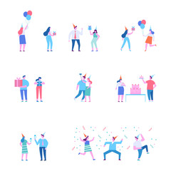 Birthday party. Different people celebrate. Flat vector illustration.