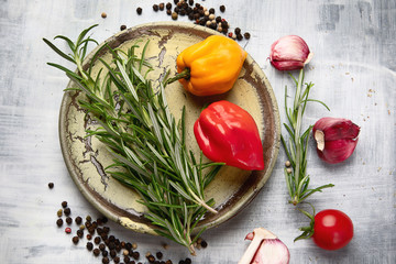 Fresh rosemary, vegetables and spices