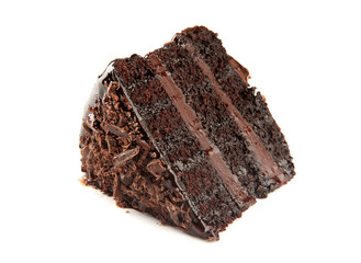 Piece of delicious chocolate cake on white background