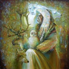 Oil painting on canvas.  Master of the tundra. Author: Nikolay Sivenkov.