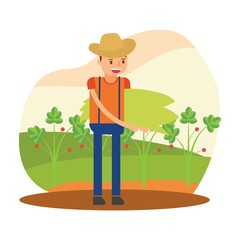 cute farmers are farming vegetable cartoon character