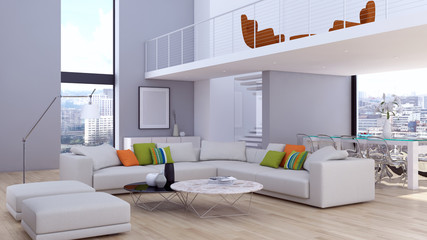 modern bright interiors apartment Living room 3D rendering illustration