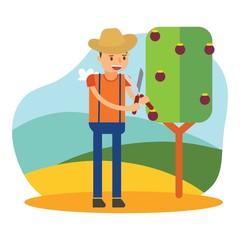 cute farmers are farming mangosteen cartoon character