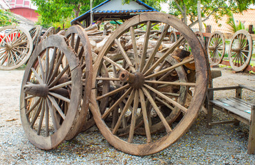 The old wooden wagon wheels